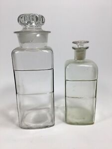 Antique Vintage Clear Glass Apothecary Jar Display Bottle Pharmacy Counter Shelf