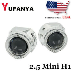 2 5 H1 Bi Xenon Hid Projector Lens Led Angel Eyes For H4 H7 Headlight Retrofit