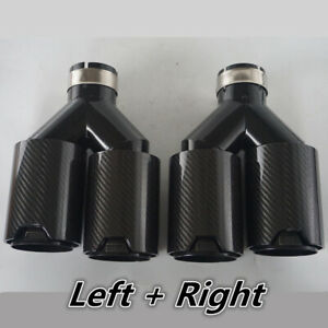 2x Black Stainless Carbon Fiber Dual Pipe Car Exhaust Tip Y 2 5 Inlet For Bmw