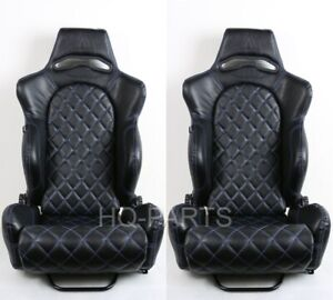 2x Tanaka Black Pvc Leather Racing Seat Reclinable Bl Diamond Stitch For Mustang