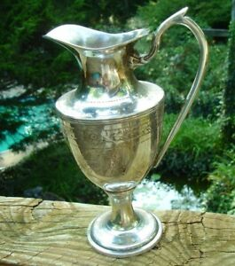 Gorgeous Old Antique Civil War Era Presentation Pitcher Colonial Communion Brass