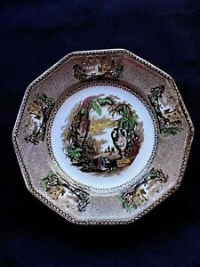Antique Ironstone Transferware Plate Brown
