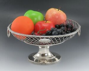 Antique 1862 Sterling Silver W Gale Son Ny Openwork Basket Fruit Bowl