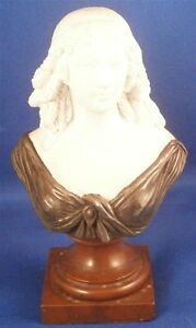Antique 19thc French Paris Porcelain Figural Bust Figurine Silver Marble Figure