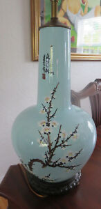 Teal Color Antique Japanese Porcelain Vase Made Table Lamp On Wood Stand
