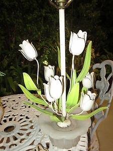 Vintagetole Table Lamp Italy Bouquet Of Tulips Flowers Marble Base