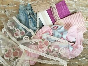 Antique Vtg Mod Lace Trim Fat 1 4 Quilting Fabric Large Sewing Dolls Crafts Lot