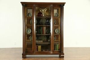 Oak Antique Curved Glass China Or Curio Cabinet Fluted Columns 30743