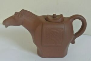 Signed Yixing Zisha Clay Horse Teapot Horse Head Spout