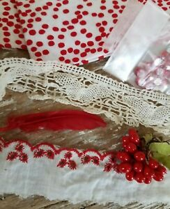 Antique Lace Vtg Trim Fat 1 4 Fabric Tiny Red Buttons Doll Millinery Crafts Lot