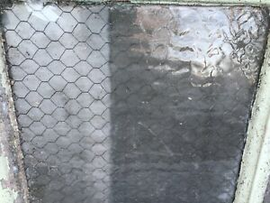 Antique Chicken Wire Window In Shabby Frame Farmhouse Wavy Glass