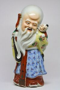 Antique Chinese Export Famillie Rose Shou Lau Figurine 10 Inches Tall