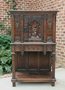 Antique French Carved Oak Gothic Vestry Sacristy Altar Wine Cabinet Bar Catholic