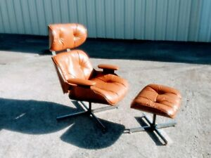 Vintage Selig Plycraft Style Mid Century Modern Lounge Chair W Ottoman Rare