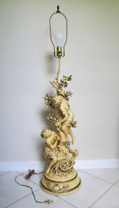 Antique Art Nouveau L F Moreau Signed French Victorian Figural Table Lamp