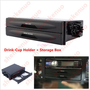 Universal Car Single Double Din Radio Pocket Kit W Drink Cup Holder Storage Box