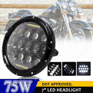7 Motorcycle Projector Round Led Headlight For Harley Electra Glide Road King