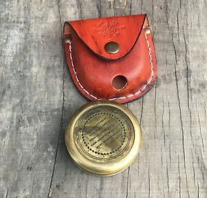 Vintage Antique Brass Pocket Compass Handmade Leather Case By Antique Warehouse
