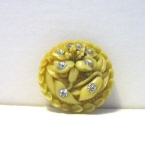Antique Vintage Celluloid Button Pretty Lily With Rhinestones Medium