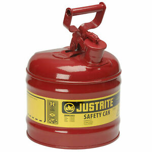 Justrite 7120100 Type I Galvanized Steel Safety Can 2 Gallon