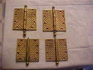 4 Antique Eastlake Era Cast Brass 4 4 1 2 Door Hinges Yale Towne 1887 As Is
