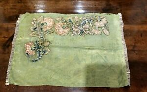 19th Century Pillow Coverlet 18th Century Embroidered Slip Spot Motif Flowers