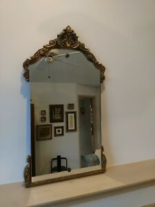 Antique Art Deco Gold Gilded Ornate Wood Gesso Vintage Empire Wall Mirror
