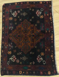 Semi Antique Hand Knotted Afghan Herati Wool Rug 2 X 2 Ft
