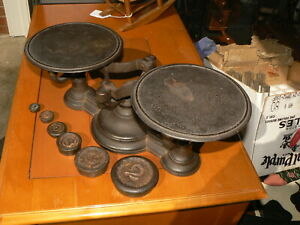 Vintage Cast Iron Balance Scale With Six Weights Works Store Countertop Ds