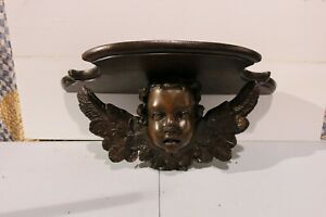 Antique Wood Hand Carved Cherub Angel Cupid Wings Wall Shelve Church Salvage