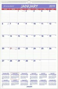 11 At a glance Monthly Wall Calendar W Ruled Daily Blocks 20 X 30 White 2019