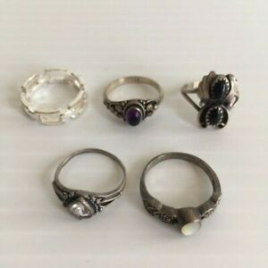 Vintage Lot Of 5 925 Sterling Silver Rings Wearable Scrap