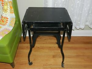 Vtg Metal Typewriter Stand Desk Drawer Drop Leaf End Table Steampunk Industrial