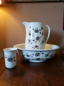 Vintage Bowl And Pitcher With A Glass England Wash Stand Table Antique