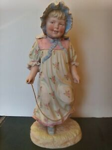 Large Antique German Bisque Figurine Statue Hertwig Style Child Skipping Rope