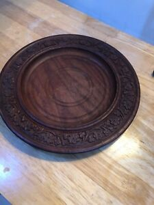 Vintage Wooden Hand Carved Decorative Plate Cheeseboard Fruit Bowl Treen