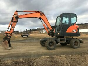 Doosan Dx55w Wheeled Mini Excavator Coupler Auxiliary Hydraulics Enclosed Cab