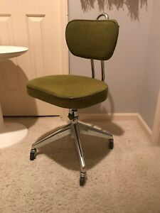 Vintage Industrial Mid Century Modern Steampunk Office Desk Swivel Chair Olive