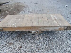 Vintage Industrial Antique Factory Warehouse Railroad Coffee Table Cart Large