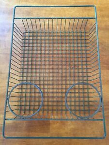 Vintage Industrial Metal Wire In out Letter Desk Organizer Tray Basket 16 X 11