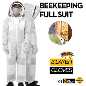 3 Layers Beekeeping Full Suit Astronaut Veil W Gloves White Garments Nylon