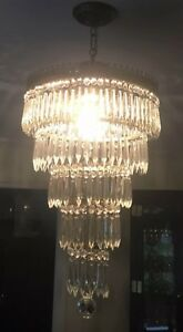 Vintage Italian Brass Crystal Wedding Cake 6 Tier Chandelier 3 Light 14 Wide