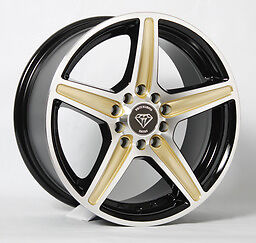 4 17x7 5 G Line Alloy Wheels G253 Gold Spoke Custom Wheels 5 100 114 3 35mm