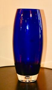 Cobalt Blue Vase With Clear Glass Base 10 1 4 Tall X 5 Wide No Chips