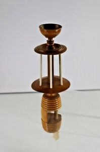 Rare Antique Treen Wood And Bone Table Clamp Thread Winder With Bowl Top