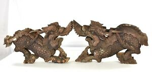 Pair Antique Chinese Wood Carving Architectural Carved Statue Of Dragon 19th C