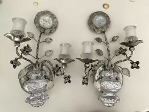 Pair Crystal Silver Gilt Iron Urn Wall Sconces Sunflower Maison Bagues Style