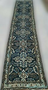 Antique Persian Wool Rug Carpet Runner 1940s Handmade Vegetable Dyed