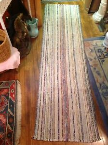 Antique Swedish Hand Made Rag Rug 87 23 Inches Great Colors
