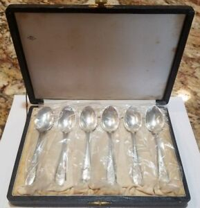 Set Of 6 Sterling Silver 950 Etched Japanese Demitasse Spoons